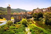 View of medieval town with bridge — Stock Photo