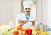 Positive caucasian male cook — Stock Photo