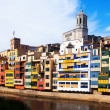 Day view of  houses on the river bank in Girona — Stock Photo