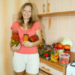 Woman with pickled vegetables — Stock fotografie