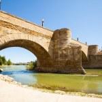 Medieval stone bridge over Ebro in Zaragoza — Stock Photo #35139891