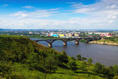 View of Nizhny Novgorod with Molitovsky bridge — Stock Photo