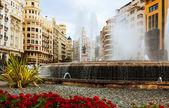 Brunnen am Placa del Ajuntament in valencia — Stockfoto