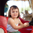 Child in carousel car — Stock Photo
