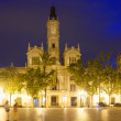Panoramic view of City hall in evening. Valencia — Stockfoto