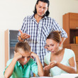 Parents berates her underachiever son — Foto Stock