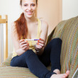 Happy young woman with pregnancy test  — Stok fotoğraf