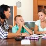 Parents berates her underachiever son — Stock Photo