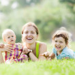 Happy mother with two children  — Stock Photo