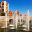 Fountains and bridge over Manzanares river in  Madrid — Photo