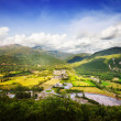 Pyrenees mountain landscape with village  — Stock Photo