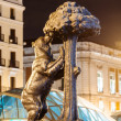 Night  view of Bear and the Madrono Tree -  symbol of Madrid — Stockfoto