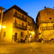 Town square at old spanish town in night  — Stock Photo