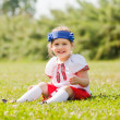 Baby girl in russian folk clothes — Stock Photo