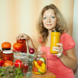 Stock Photo: Woman with marinated vegetables