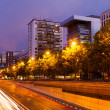 Paseo de la Castellana in night.  Madrid — Stock Photo