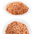 Stock Photo: Set of buckwheat in plates over white