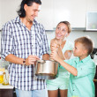 Cooking veggy lunch in kitchen — Stock Photo