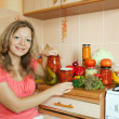 Woman making pickled vegetables — Stock Photo