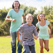 Happy sporty family of three — Stock Photo
