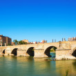 Stone Bridge over Ebro river  — Stock Photo