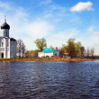Church of Intercession on River Nerl in flood — Stock Photo #35144199
