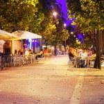 Pedestrian street in mediterranean town at night — Stock Photo #35144247