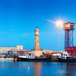 Panorama of Port Vell in sunset — Stock Photo #35144259