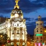 The Crossing Calle de Alcala and Gran Via in night — Stock Photo #35144305