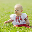 Baby  in russian folk clothes — Stock Photo