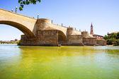 Stone Bridge over Ebro in Zaragoza — Stock Photo