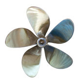 Five-bladed propeller. Isolated over white — Stock Photo