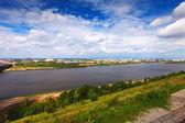 Summer view of Nizhny Novgorod with Oka — Stock Photo