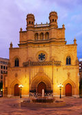 Gothic Cathedral at Plaza Mayor in evening. Castellon de la Plan — Stockfoto
