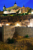 View of Alcazar of Toledo in night — Stock Photo