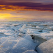 Ice on river in frosty sunset — Stock Photo #38414285