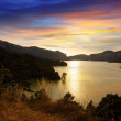 Mountains lake in sunset. Sau reservoir — Stock Photo #38414665