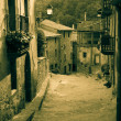 Retro photo of medieval Catalan village — Stock Photo #38415245