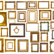Set of many gold frames. Isolated over white — Stock Photo
