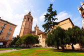 Wide andle shot of Micalet tower and Cathedral — Stock Photo