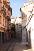 Narrow street of European town. Banyoles — Stock Photo
