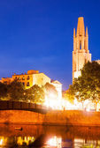 Church of Sant Feliu in evening time. Girona — Stock Photo