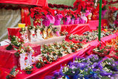 Flowers and decorations at the Christmas market — ストック写真