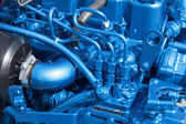 Closeop of blue engine — Stock Photo