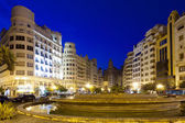 Placa del Ajuntament in summer evening. Valencia — Stockfoto