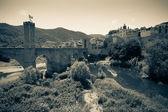 Vintage photo of medieval town — Stock Photo