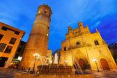 Kathedrale in castellon de la plana in nacht. spanien — Stockfoto