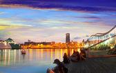 Embankment from Port Vell in sunset. Barcelona — Zdjęcie stockowe