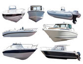 Set of motor boats. Isolated over white — Stock Photo