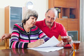 Serious mature couple fills in questionnaire together — Stock Photo